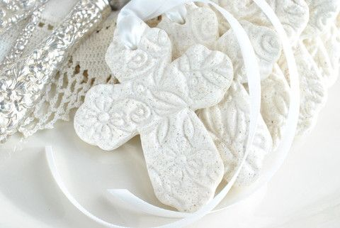 Imprinted Cross with Ribbon Set of 10 Baptism Favors Salt Dough Napkin tie/ring Ornaments