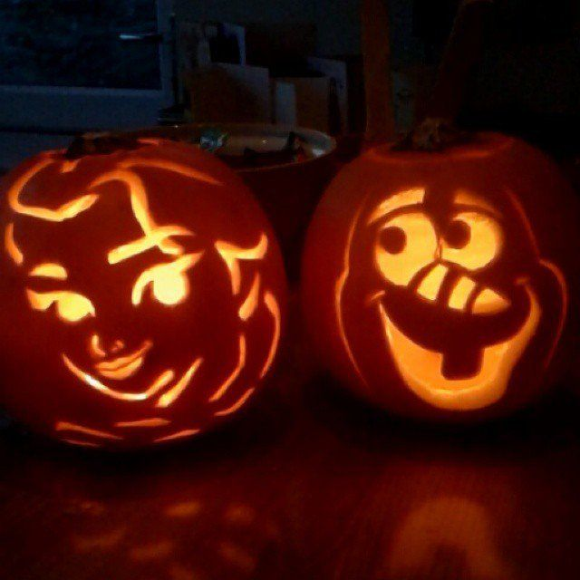 Pin for Later: Take Pumpkin Carving to the Next Level With These Stylish Ideas Frozen Pumpkins Olaf and Elsa were memorialized on two pumpkins!