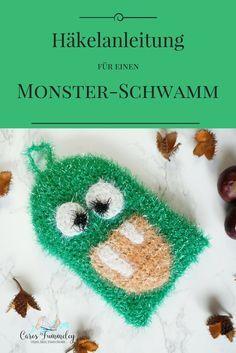 Spülschwamm Häkelanleitung für Halloween: Monster-Schwamm häkeln mit Spüli-Garn von rico design. #taschenbaumler #häkeln #monster #halloween