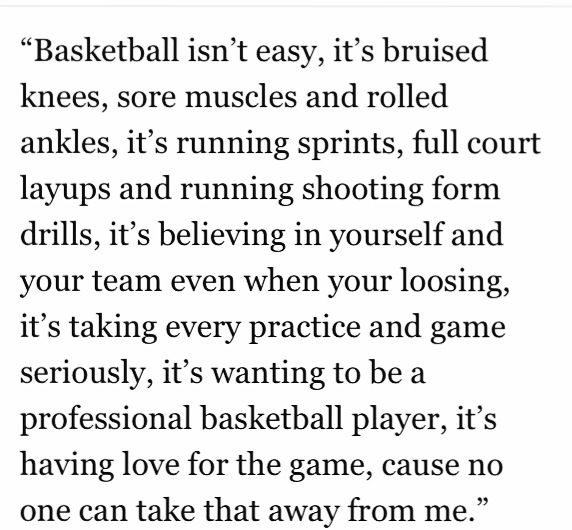 Basketball quote, love this <3