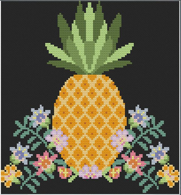 Pineapple Cross Stitch attern - instant digital pdf download - tropical modern…