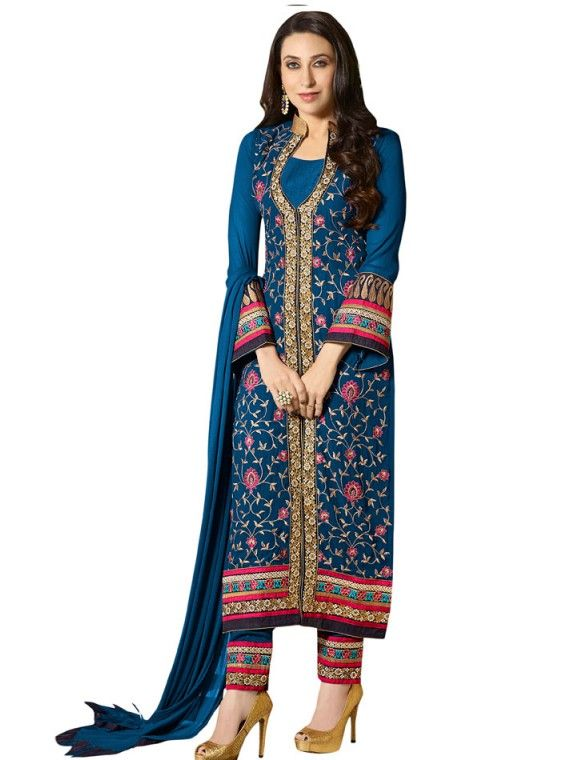 Sparkling Navy Blue Karishma Kapoor Trouser Kameez