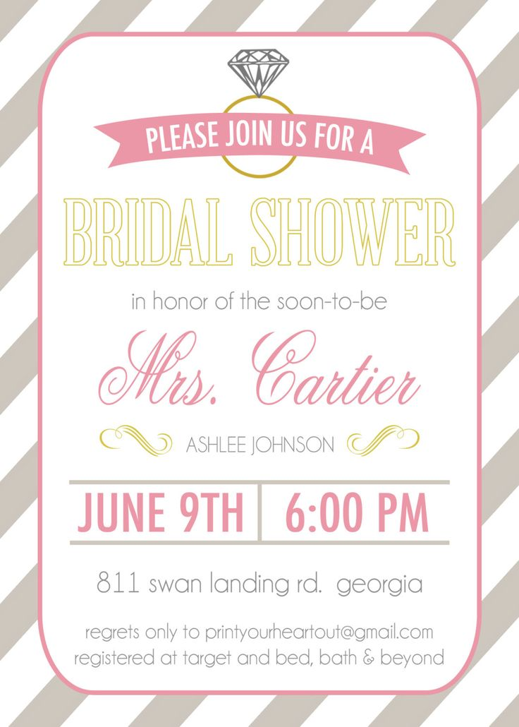 Printable Diamond Ring Bridal Shower Invitation