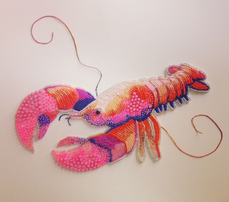 LOBSTER!  Bead Embroidery by Eleanor-pigman.squarespace.com
