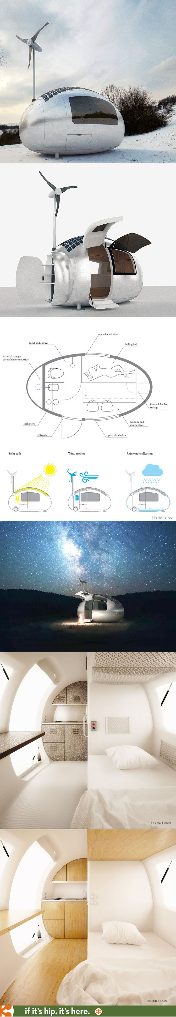 The solar and wind powered Ecocapsule with kitchenette, toilet, shower and warm bed.