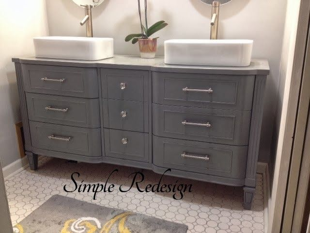Turning A Dresser Into A Bathroom Vanity By Simple Redesign   Featured On  Furniture Flippinu0027