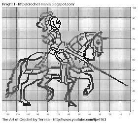 Free Filet Crochet Charts and Patterns: Filet Crochet Knight 1