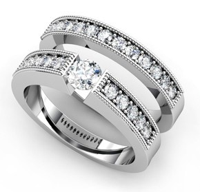 Diamond engagement and wedding band set by T & T Jewellers