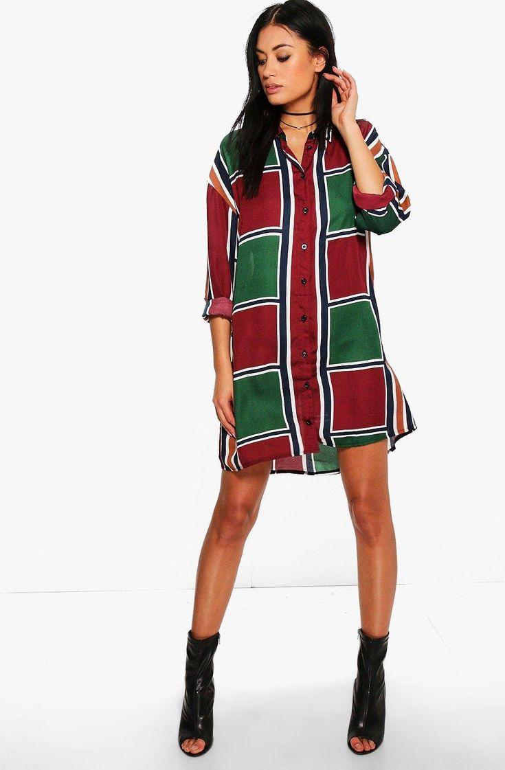 Belinda Long Sleeve Mix Stripe Shirt Dress at boohoo.com