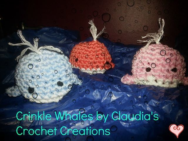 Crinkle Whales for your little ones. Each whale is crocheted using cotton or bamboo and is filled with crinkle paper. Watch in delight as you squeeze these critters. Please hand wash and air dry only! $8.00