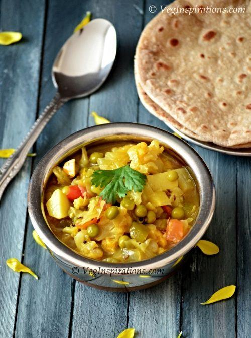 Cauliflower curry ~ Phool Gobi chi bhaji ~ Maharashtrian style mixed vegetable curry | Veg Inspirations