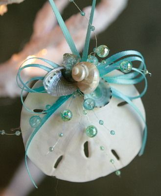Ocean Sand Dollar Ornament, Aqua