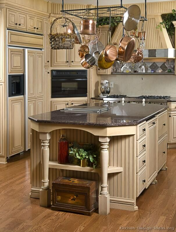 Repainted antique white kitchen cabinets kitchens for Traditional white kitchen cabinets