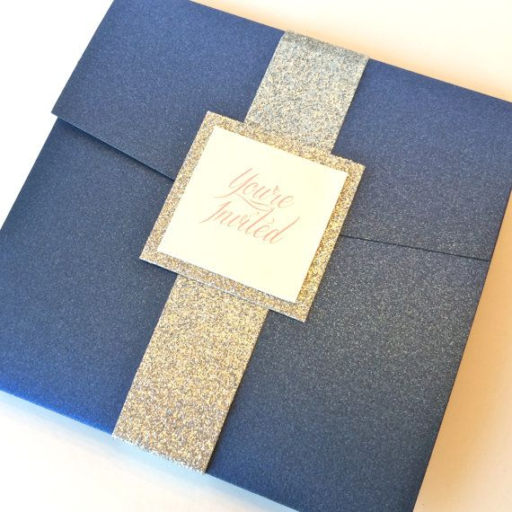 Navy Wedding Invitation Blue and Silver by Lovelytations on Etsy  $5.75 each + $1 for directions insert + $0.60 for return address stamp = $7.35