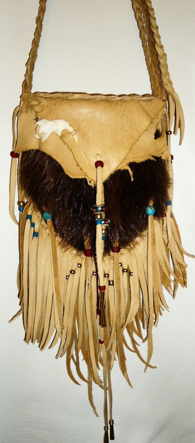 Possibles bag purse medicine bag Muskrat and deer skin mountain man native american