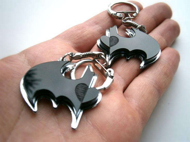 Best Friends Batman Keychain -  Friendship Keychains - Batman and Robin -  Laser Cut Acrylic - Engraved Heart