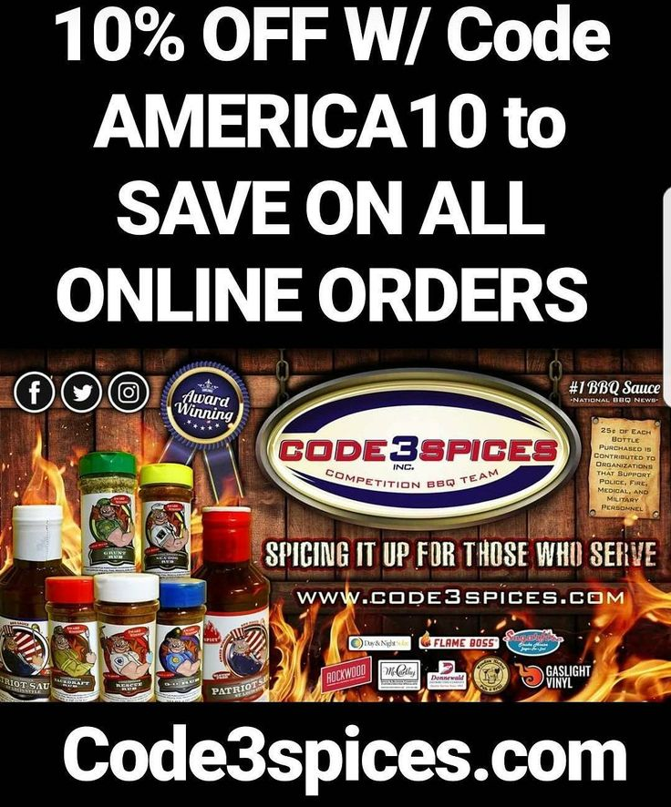 10% off with Code America10  Savings is good through July 4th MSG free America's cooking products No High Fructose Corn Syrup Gluten Free .Number 1 sauce National BBQ News Low Sugar Content . . . . #spices #bbq #bbqsauce #code3spices #code3nation #barbeque #meathustler #weber #igdaily #savings #onlineshopping #ecommerce #barbeque #4thofjuly #america #military #police #fire #ems #medical #merica #3grams #Atkins #fitfam #1stphorm #instayum #paleo #foodnetwork  #weber #weberkettle