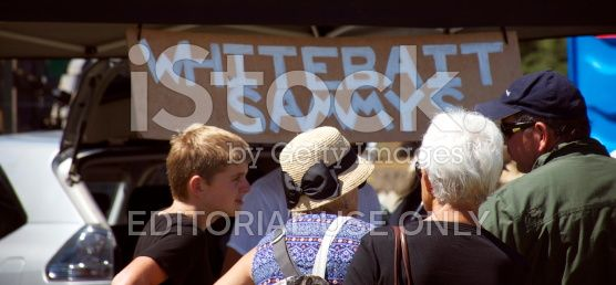 Queue for Whitebait Sandwiches, Country Fair, New Zealand royalty-free stock photo