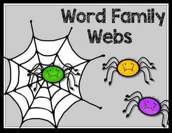 Color and B&W 4 half page word family web mats 12 spiders with word family pictures to sort onto correct word family webs.