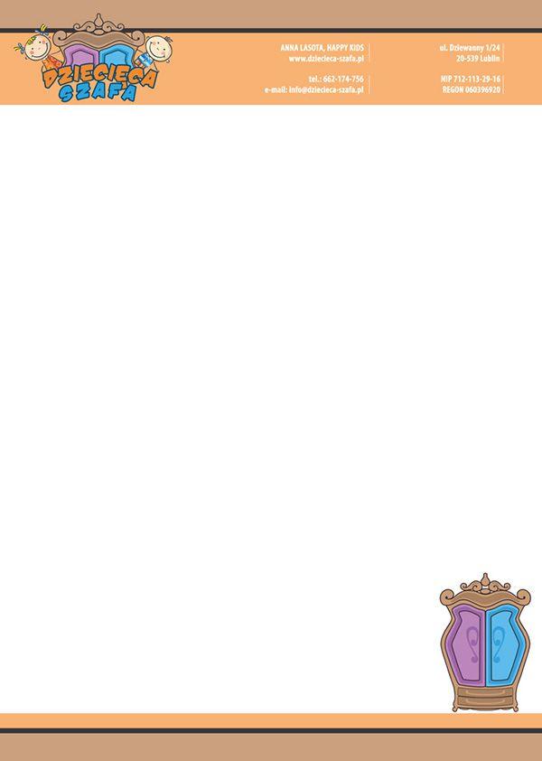 Projekt papieru firmowego dla Dziecięcej Szafy