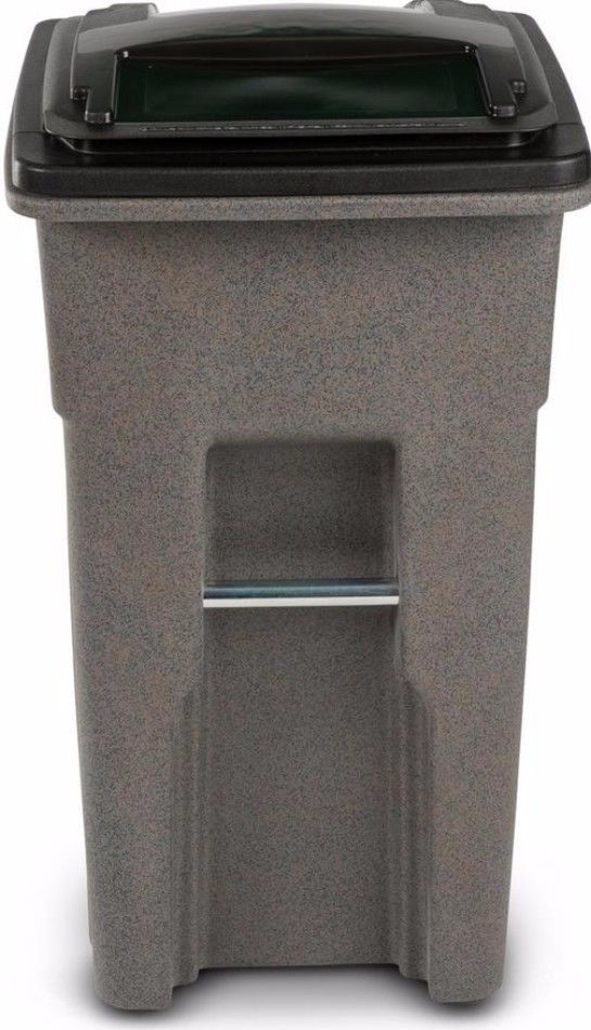 32 Gal. Wheeled Graystone Finish Trash Can Outdoor Garbage Waste Container #trashcan