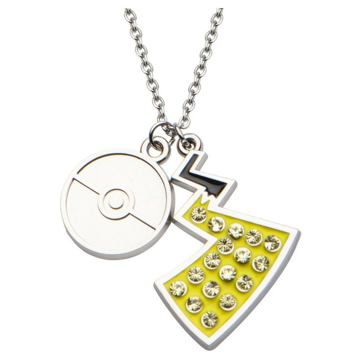 """Pokémon Poké Ball & Pikachu Tail Stainless Steel and Gem Pendant with Chain (18"""" + 2"""" ext.), Women's"""