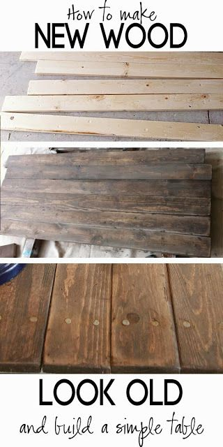 How to distress wood, make new wood look like barn wood and Build a simple Rustic Sofa Table