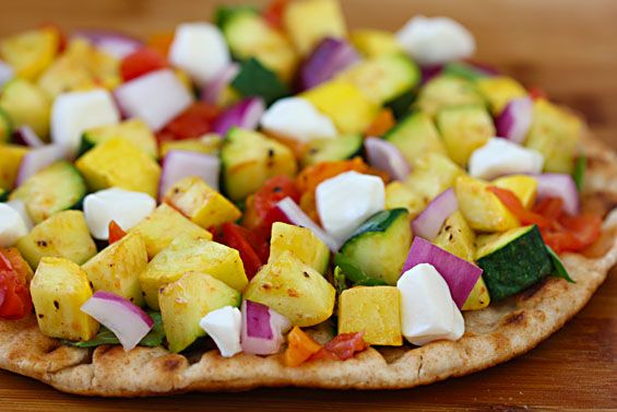 Flatbread Veggie-Lovers Pizza. - Feel free to use whatever fresh veggies you have on hand: asparagus, mushrooms, eggplant, spinach, shallots (in place of onions) as well as other fresh italian herbs! Or throw in some Italian sausage, and whip up a flatbread creation of your own.