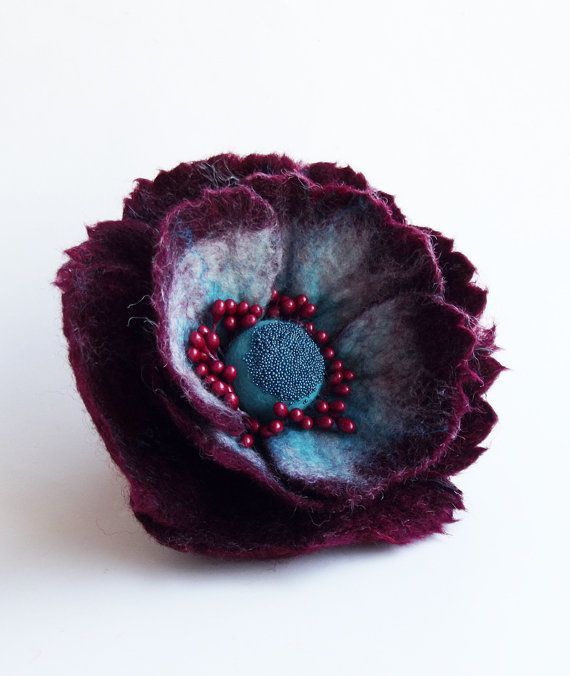 "Felted Flower Brooch, Hair Clip, Wool Felt Jewelry,Dark Red & Turquoise Flower, ""A little bit different poppy"""