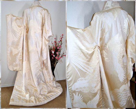 Mythical Phoenix Japanese Kimono Silk Robe Unique by EventOutlet