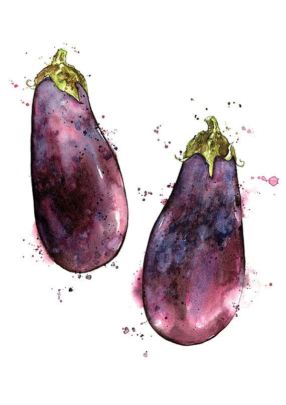 Giclee Fine Art Print: Aubergine (Eggplant) Pair Watercolour Painting