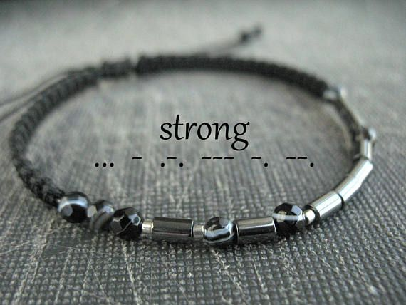Be strong bracelet morse code message personalized gift