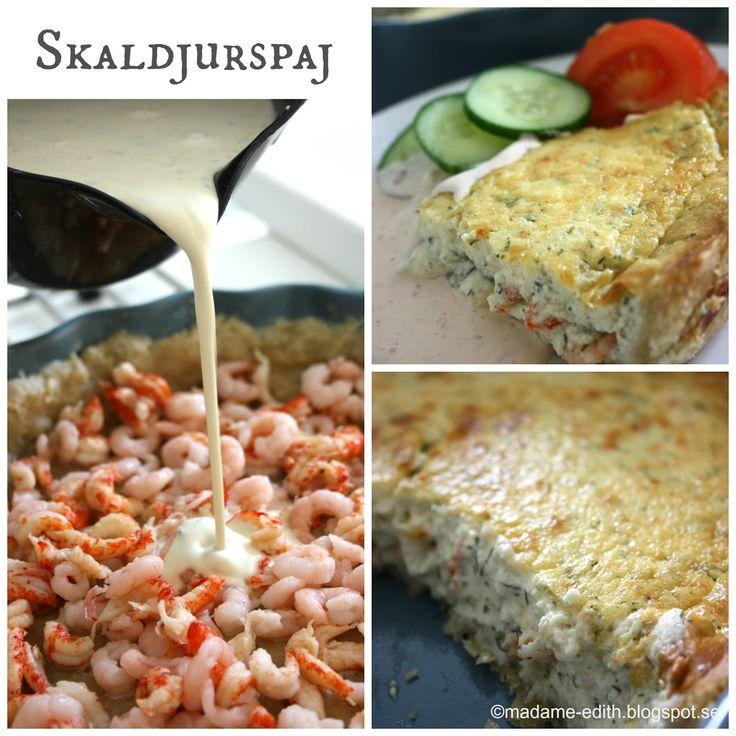 En småkrämig och len skaldjurspaj - Detta är ett recept som innehåller bla. smaksatt färskost  Jag rörde ihop gräddfil och lite sambal oe...