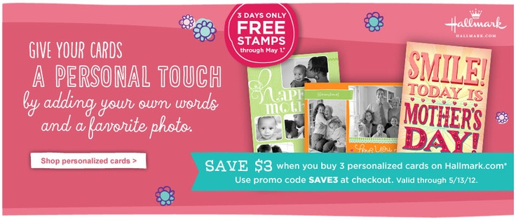 Hallmark stamps your cards gratis, until  May 7 and mails it too!