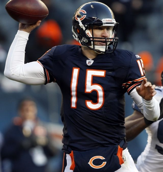 Chicago Bears quarterback Josh McCown drops back to pass during the fourth quarter of their NFL football game. Description from sportsworldreport.com. I searched for this on bing.com/images