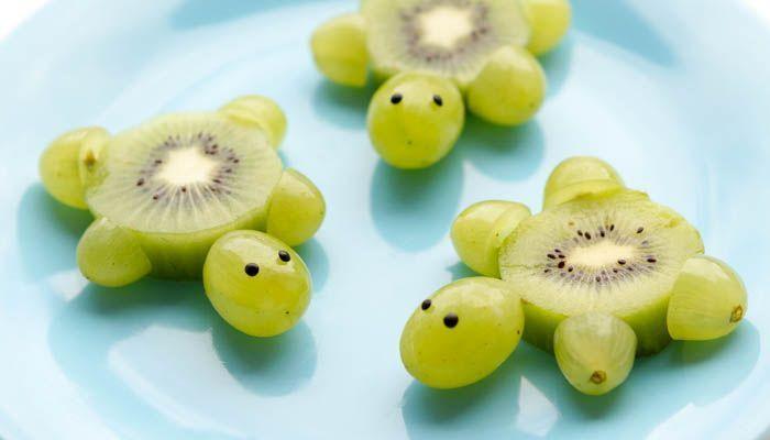 Schildkröten aus Kiwi Weintrauben Foodie Kinder K…