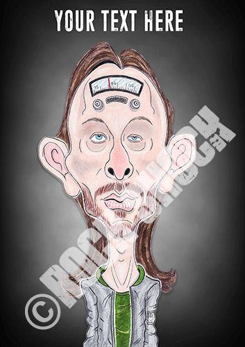 RADIOHEAD - Thom Yorke Caricature Greeting Card with Personalised Text http://www.ebay.co.uk/itm/172342309056?var=&ssPageName=STRK:MESELX:IT&_trksid=p3984.m1558.l2649 #radiohead #thomyorke #thomyorkecaricature #rockgreetingcards #funart #caricatures #rockstar #caricaturist