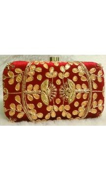 Embroidery Work Red Color Women's Fashion Clutch Purse | FH10351405 Follow Us @heenastyle  #Embroidery #Clutch #Fashion #Bags #Online #Clutchbag #BagsOnline #OnlineShopping #Heenastyle