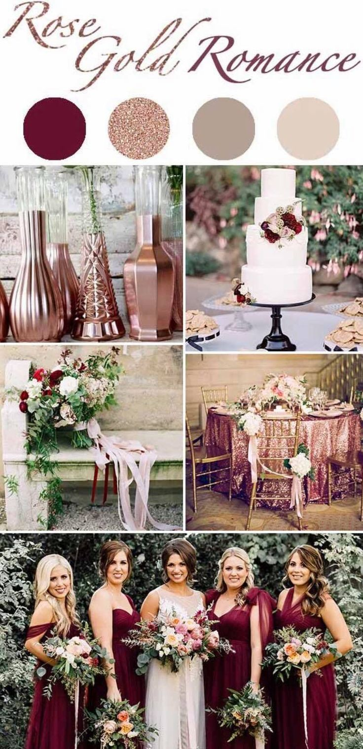 Crisp, clean, chic, elegant and yet warm Lots of greenery with rose gold, blush and deep burgundy accents Ivory bridal gown