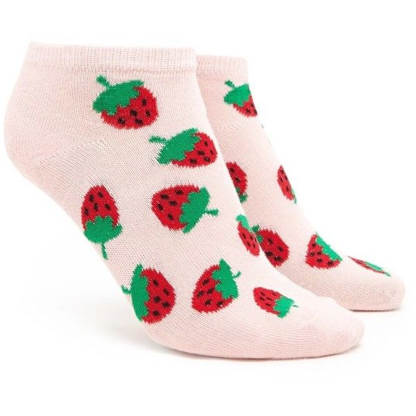 Forever21 Strawberry Print Ankle Socks ($1.90) ❤ liked on Polyvore featuring intimates, hosiery, socks, tennis socks, forever 21 socks, short socks, ankle socks and forever 21