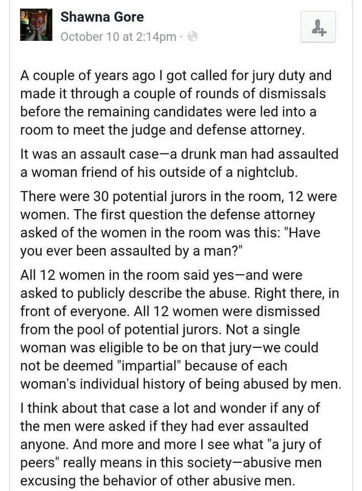 They were dismissed because they could not be impartial to abuse. So anyone that can be is the person making the decision on whether to convict. Boggles my mind