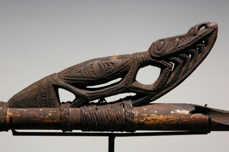 "Sepik Coastal Spear Thrower. L. 30"". Early 20th century. Michael Hamson Oceanic Art."
