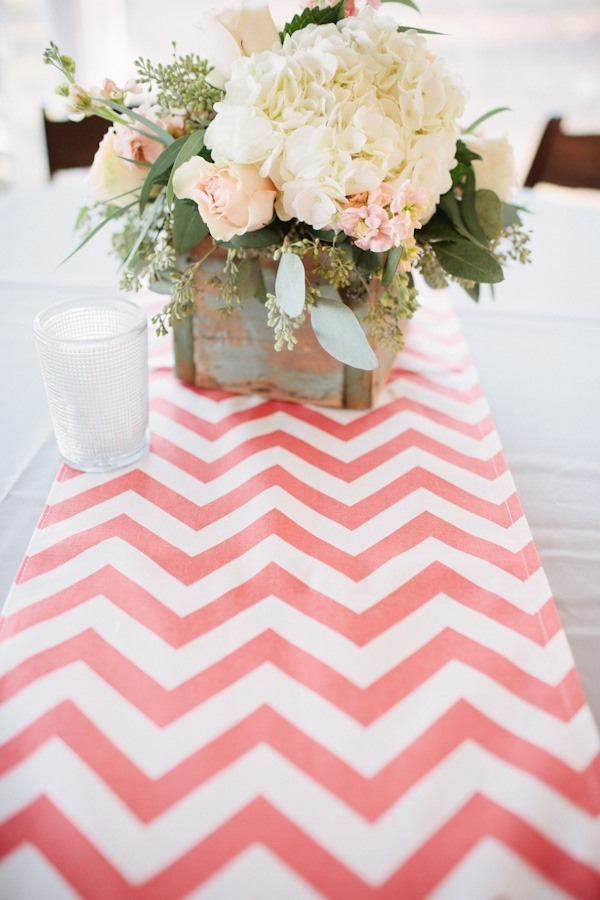 Chevron runners in a pop color.    Photography By / kaitiebryant.com, Event Planning By / chanceycharmweddings.com, Floral Design By / theflowerpost.com