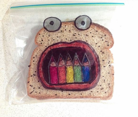 Super dad David Laferriere has been illustrating his kids sandwich bags since 2008. Gotta love it  -  check out the complete collection!