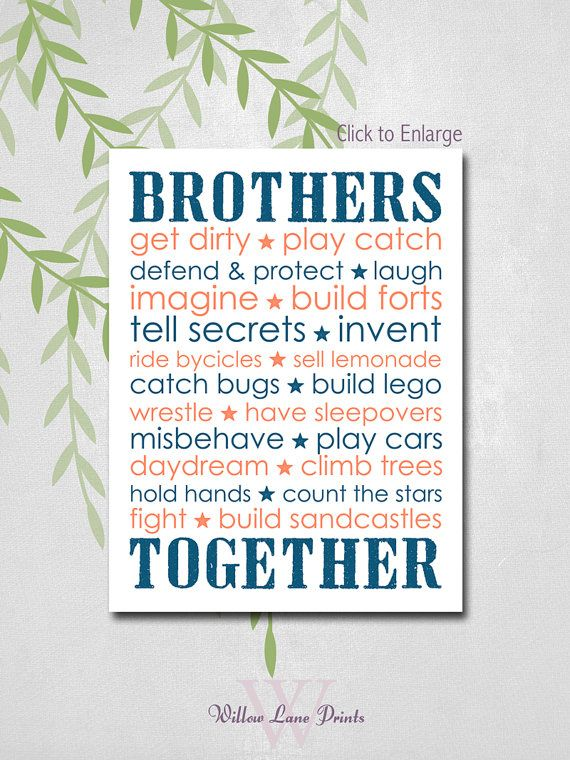 BOYS 8x10 PRINT, Twin brothers Nursery Decor, Brothers Subway Wall art, Boys bedroom decor, brothers nursery prints, children's wall art