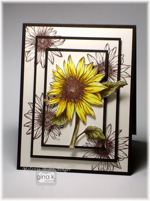 Hands, Head and Heart: Peeking Sunflowers...This triple panel technique is so easy to do!  Just make a mat stack of three layers, piled on top of each other (Pure Luxury Ivory) and stamp your images over the edges (Memento Rich Cocoa)  Then cut and layer colored mats underneath (Gina K Dark Chocolate). Adhere layers with pop dots.