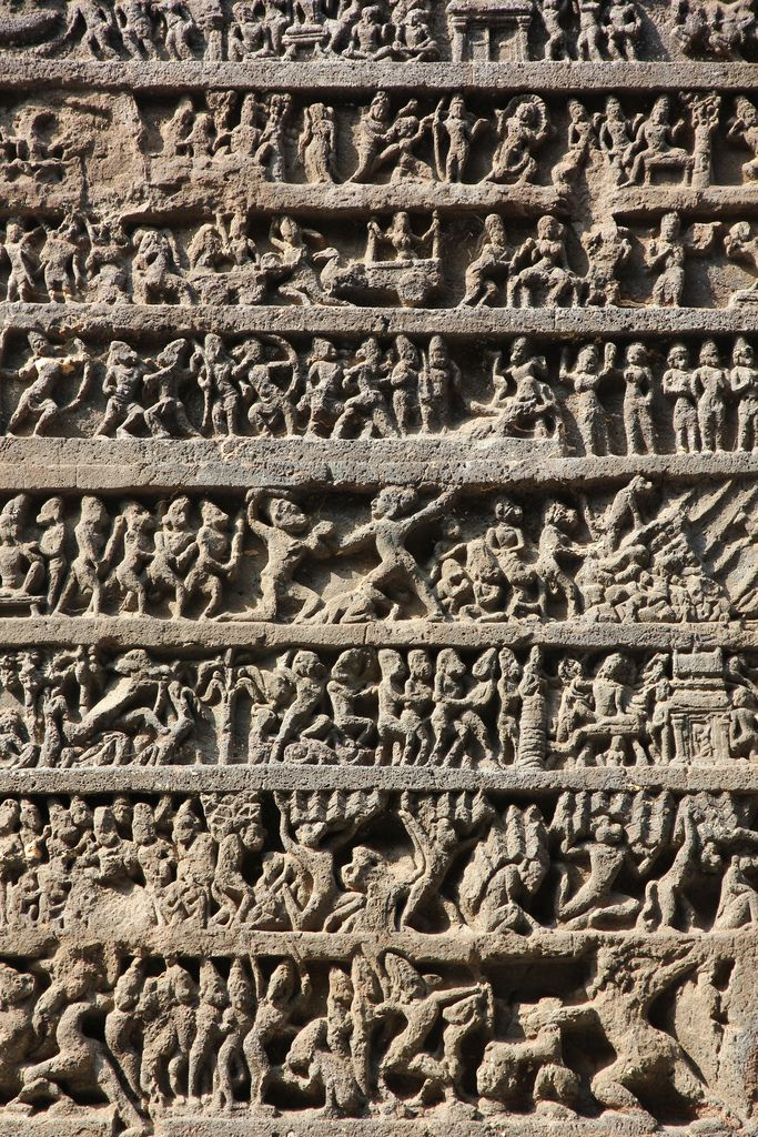ancientart:  Kailash Temple, Ellora Caves, India, dated from 600 to 1000 AD. There are 34 major caves atEllora -Cave 16, as shown here, is theKailasa Temple, a masterpiece ofrock-cut architecture and sculpture.Photos courtesy ofKirk Kittell.