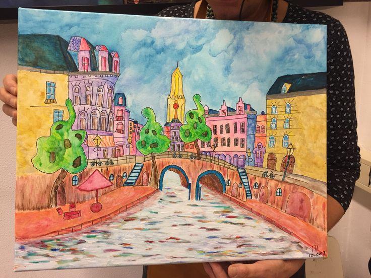 Eén van mijn cursisten heeft Utrecht mijn stadje geschilderd bij Irene's Atelier.