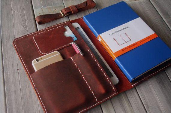 Leather Portfolio iPad Mini Case Hand Stitched iphone Sleeve, Large Moleskine notebooks Cover Sleeve - Pen Sleeve, Conference Organizer