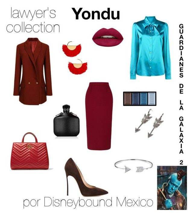 """Yondu"" by disneybound-mexico on Polyvore featuring Roland Mouret, Dolce&Gabbana, Casadei, Jade Jagger, Gucci, BaubleBar, Bling Jewelry, John Varvatos, Huda Beauty and Clé de Peau Beauté"